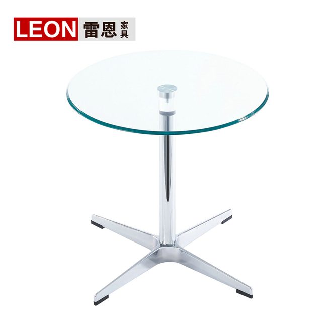 Small Round Glass Coffee Table Modern Minimalist Stainless Steel