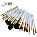 Jessup pro 15 unids pinceles de maquillaje polvos sombra de ojos corrector delineador lip brush tool blanco/oro