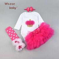 Baby Girl Clothes Winter Newborn Girls Set Lace 4Pcs Icecream Bodysuit Skirt Bow Headwear Leggings Sets
