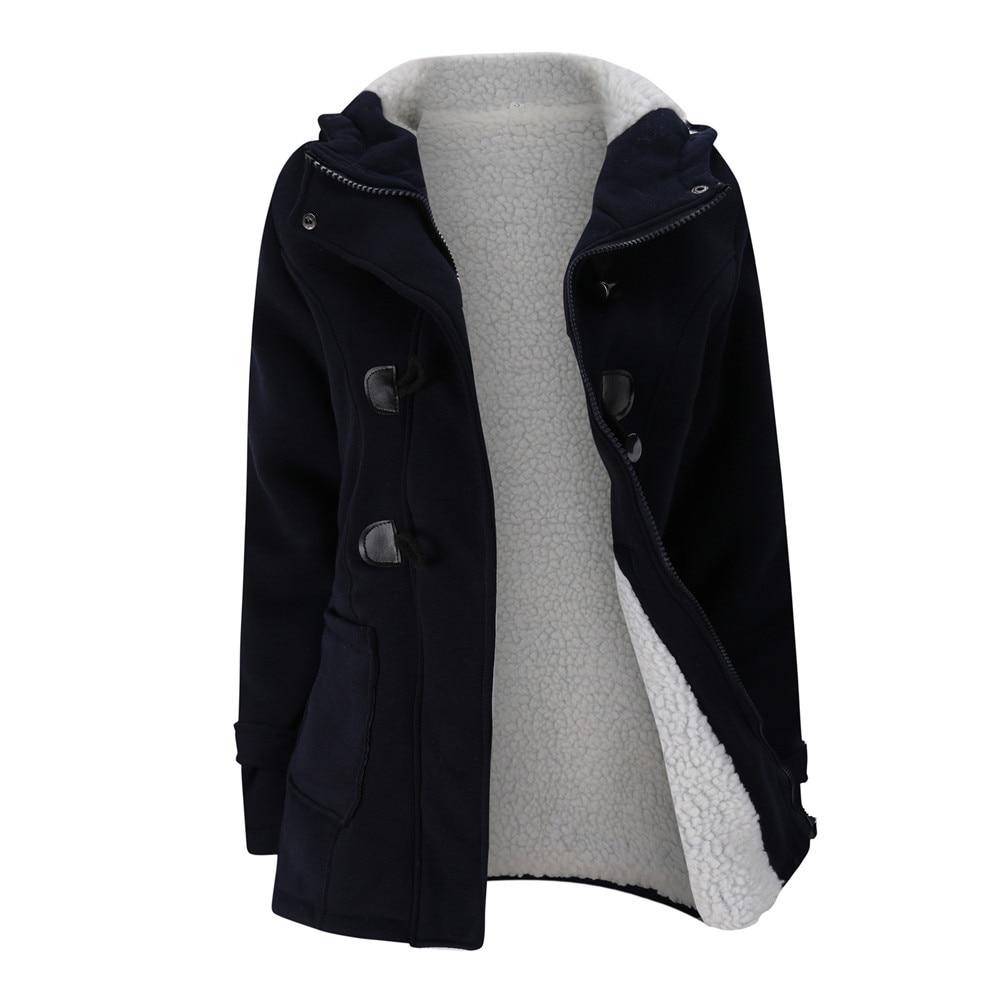 Jacket Coat Winter Women 2019 Hooded Wool Blend Praka Classic Horn Leather Buckle Coat Slim For Ladies Winter Jacket Woman Parka 1
