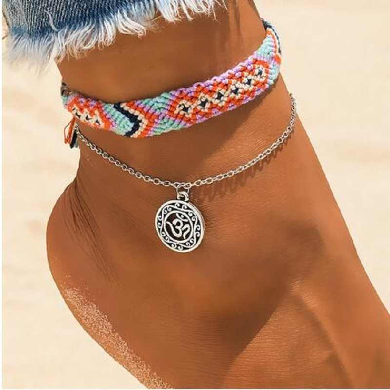 Vintage OM Rune Weave Anklets For Women New Handmade Cotton Anklet Bracelets Female Beach Foot Jewelry Gifts