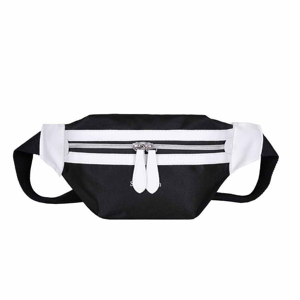 女性のファッションのキャンバスレターショルダーバッグメッセンジャークロスボディ胸バッグヒト化 Zip 形式ウエストパック Y10