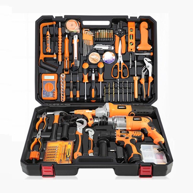 다기능 도구 상자 전기 드릴 가정용 도구 세트 유지 보수 도구 상자 하드웨어 전기 기사 목공 도구 키트 YK-966