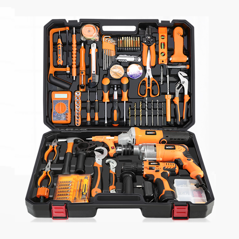Caja de Herramientas multifuncional, conjunto de utensilio doméstico de taladro eléctrico, caja de herramientas de mantenimiento, kit de herramientas de carpintería para electricista, YK-966