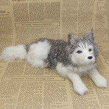new Simulation lying husky toy polyethylene&furs gray dog model gift about 30x11cm y0240 цена
