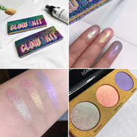 UCANBE 3 Colors Holographic Shimmer Eyeshadow Palette Duo-chrome Metallic Pigmented Powder Eye Shadow Kit Makeup Shine Eyeshadow