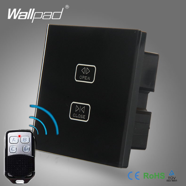 Remote Curtain Switch Wallpad Black Glass Switch 2 Gang Wireless Remote Touch Curtain Shutter Window 2 Way Control Wall Switch 4 gang curtain switch wallpad black tempered glass switch 4 gang touch double curtain window shutter blinder wall switches