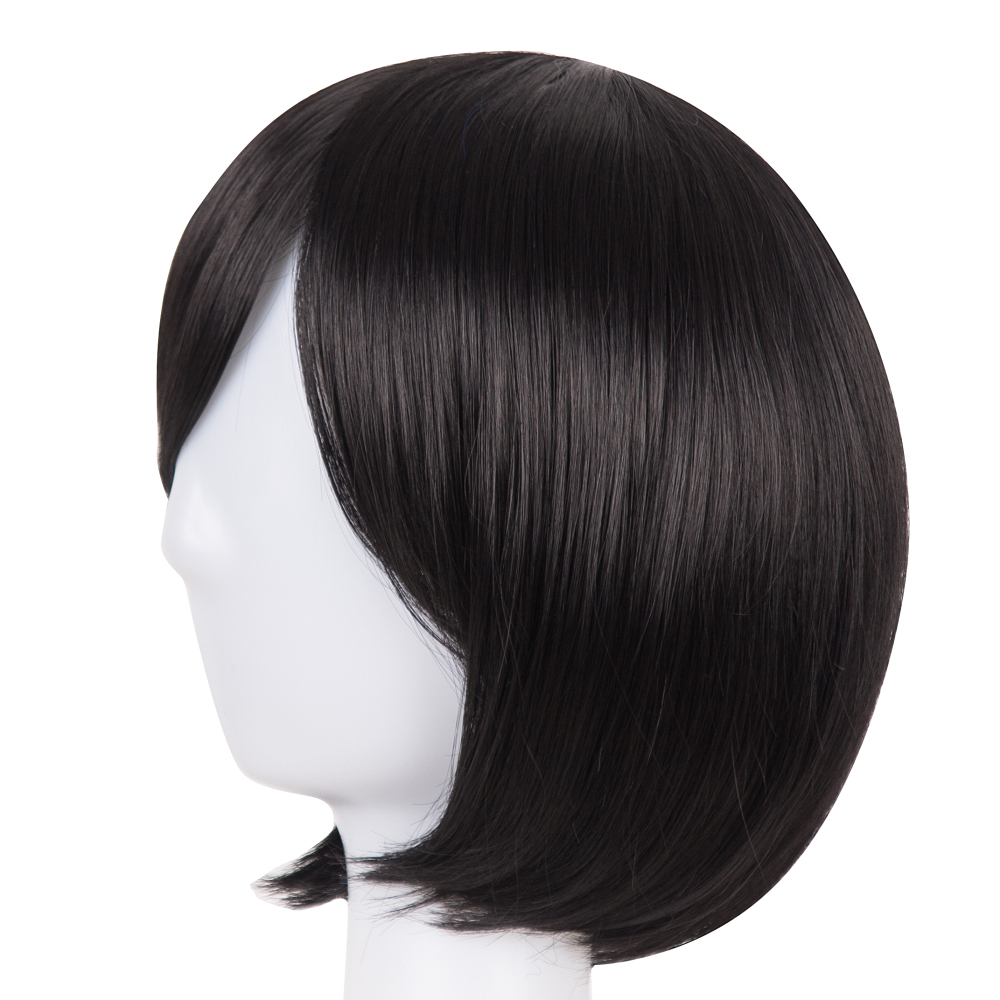 Synthetic Wigs Black Bob Wig Fei-show Synthetic Heat Resistant Fiber Oblique Bangs Short Wavy Cosplay Halloween Carnival Hair Women Hairpieces Synthetic None-lacewigs