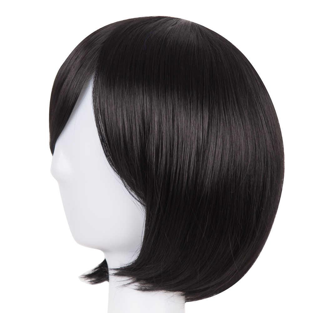 Czarny Bob peruka Fei-pokaż syntetyczne włókno termoodporne ukośne grzywka krótkie faliste Cosplay Halloween karnawał włosy kobiety treski