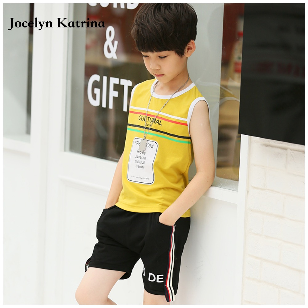 2017 Summer Children Kids clothes Sports wear set Sleeveless Tops & Shorts 2pcs sets Boys sports suit kids Sportswear clothing