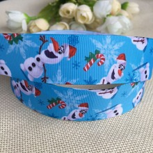 "1 ""25MM Kawaii free shipping Christmas Snow Po cute animals pattern printed grosgrain tape  ribbon DIY hair bow 5 yards"