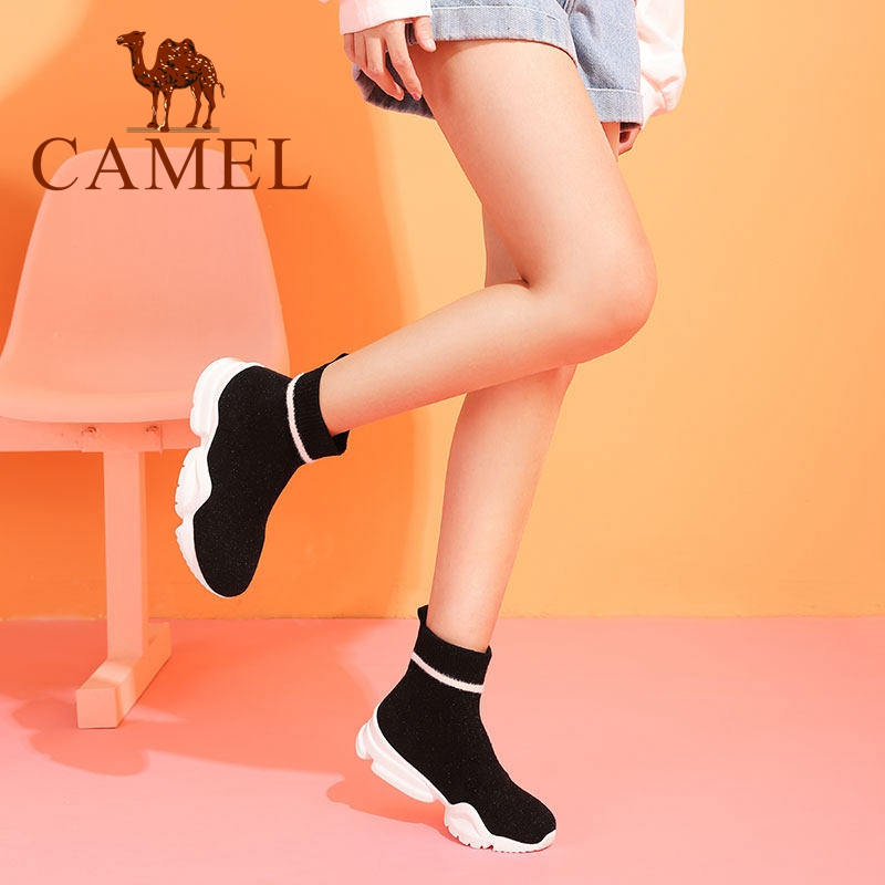 Chaussettes Plate Chameau Talon Med Sur Casual Bottes Sneakers Tissus Chaussures Femme forme Mode Hiver Femmes Slip Black Cheville Stretch wHvqYFxfH