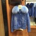 Mulheres marca Denim Jaqueta de Forro De Pele De Peles Naturais de Raposa, Casacos de inverno Quente Com Gola De Guaxinim, genuíno Forro De Pele Parka Mr Peles