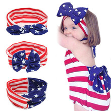 Head Wrap Stretch Stripe Rabbit Bow Turban Bowknot Hairband Accessories America The Star Spangled Banner 1pc