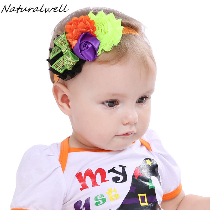 Naturalwell Baby girls Halloween Orange Black purple headband Toddler Infant halloween shabby flower headbands Photo Prop HB617