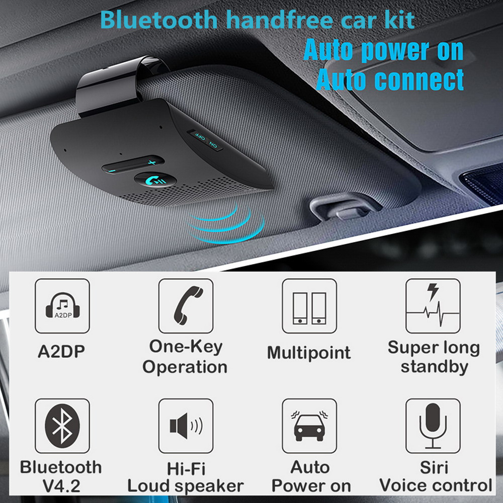 Bluetooth Handsfree Car Kit 4.2 Sun Visor Clip Wireless Audio Receiver Speakerphone Loud Speaker Music Player Dual Microphone