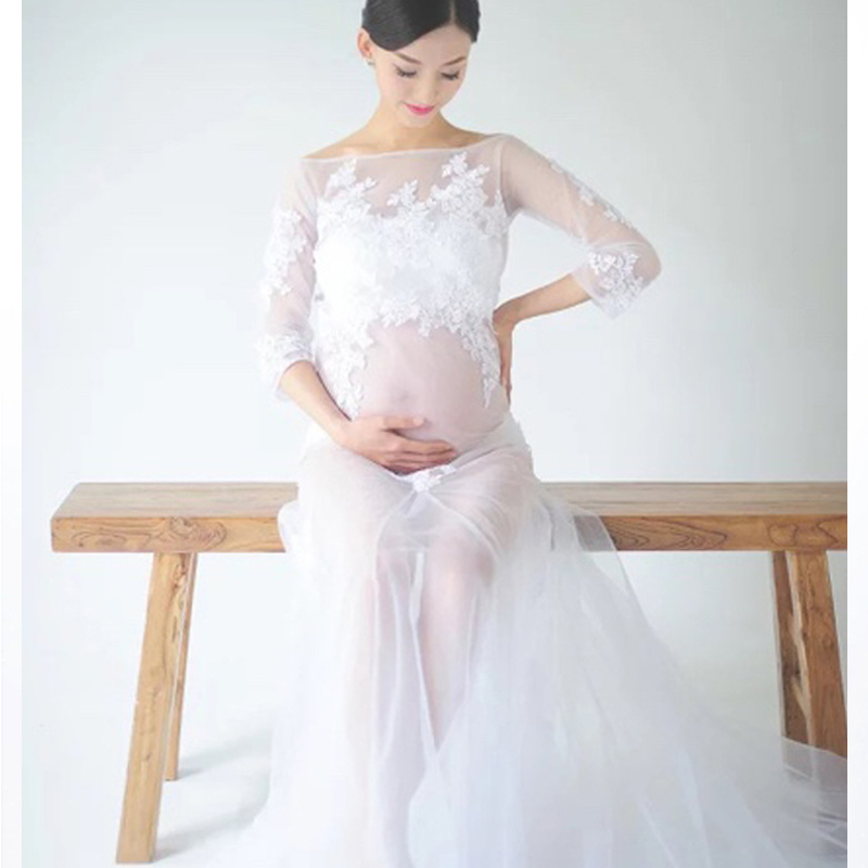 Pregnancy Elegant Fancy Gown White Lace Maternity Photography Props Royal Style Dresses Pregnant Women Photo Dress Clothes elegant dress fancy black lace maternity leak photographic accessories studio pregnancy clothes pregnancy clothes yf046
