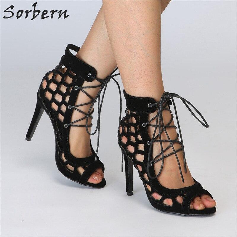Sorbern Black Ladies Summer Wear Shoes Sandals Hollow Out Lace Up Front 10Cm High Heels Stilettos Open Toe Sandals Wrap Shoes недорго, оригинальная цена