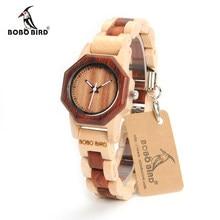 BOBO BIRD-reloj de madera M25 para mujer, accesorio de pulsera de cuarzo ligero con movimiento de lujo, con caja de regalo