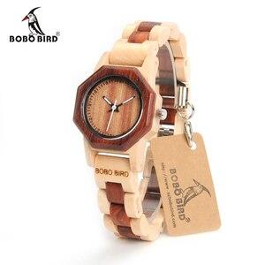 Image 1 - Bobo pássaro m25 feminino relógio de madeira movimento quartzo de luxo leve senhoras relógio de pulso relojes de mujer com caixa de presente