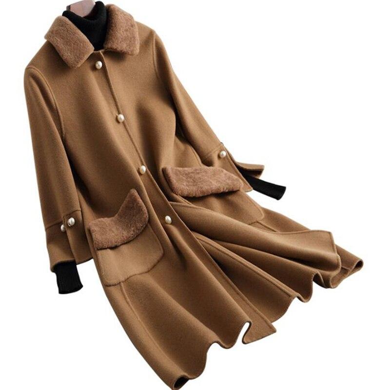 Новинка 2018, зимняя куртка, женское двухстороннее шерстяное пальто, женское длинное пальто высокого качества, мягкое теплое пальто с воротни