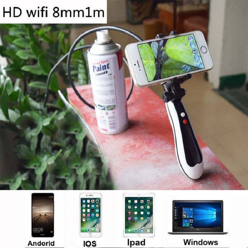 Hd WiFi Handheld Endoscope Cctv Camera 8MM Lens Wireless Wifi Camera Snake Inspection IP Camera Android IOS Waterproof Car Cam gl9008 8mm endoscope ip67 waterproof with colorful lcd monitor camera head inspection av handheld cmos