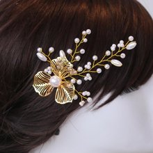 2Piece Wedding Hair Pin with Pearl Rrhinestone Hair Clips hair jewelry for Women Accessories 2016 fashion Gold headpiece