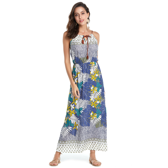 AIEnny Women Summer Boho Beach Dress Floral Print Maxi Long Cotton Sleeveless