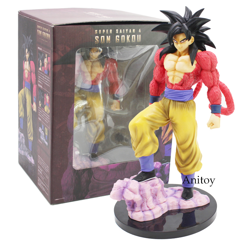 Dragon Ball Z Super Saiyan 4 Son Goku PVC Action Figure Collectible Model Toy 26cm dragon ball z action figure god goku super saiyan led lighting display toy anime dragon ball son goku collectible model diy155