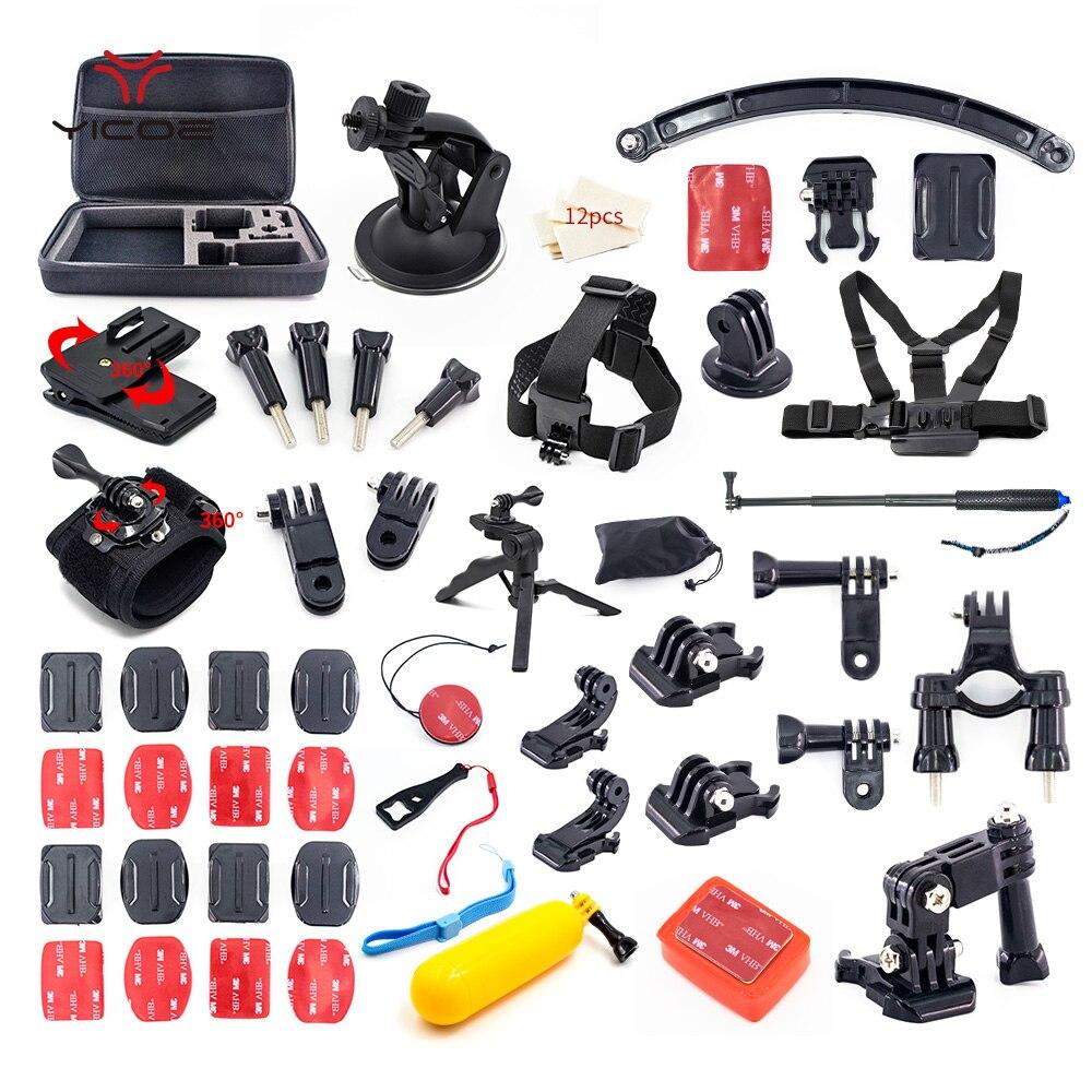 Pour Gopro hero 6/5/4/3 Kit d'accessoires Xiaomi yi 4 k mijia casque trépied fixation bâton Go pro SJCAM SJ4000 Action Sport caméra ensemble