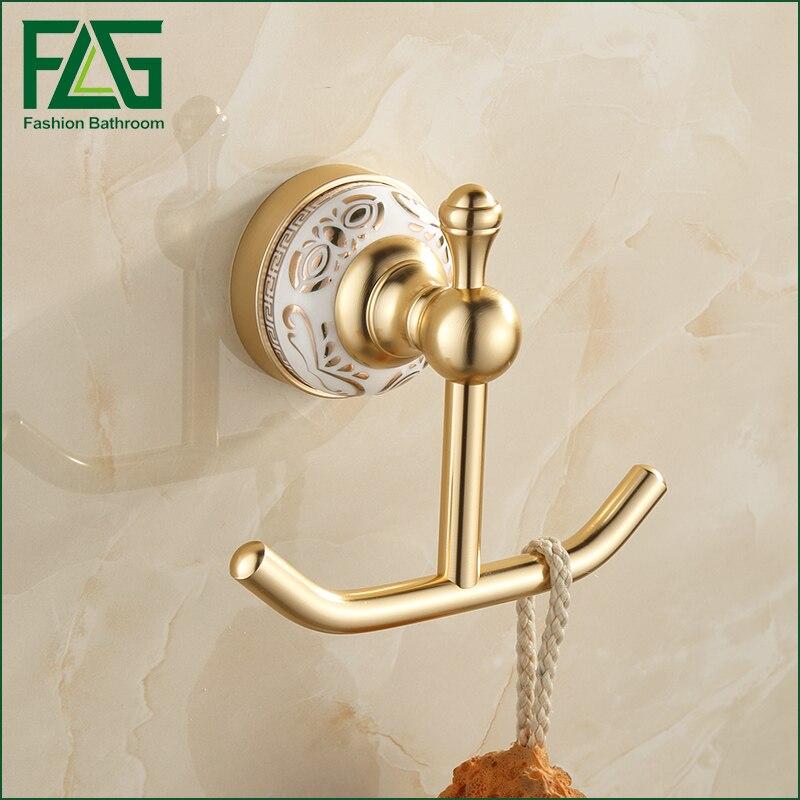 flg shipping robe hook cloth hook golden space aluminum hook coat hook decorative wall hanger bathroom accessrie - Decorative Coat Hooks