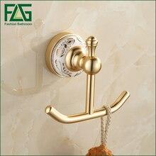 FLG Shipping Robe Hook Cloth Golden Space Aluminum Coat Decorative Wall Hanger Bathroom Accessrie
