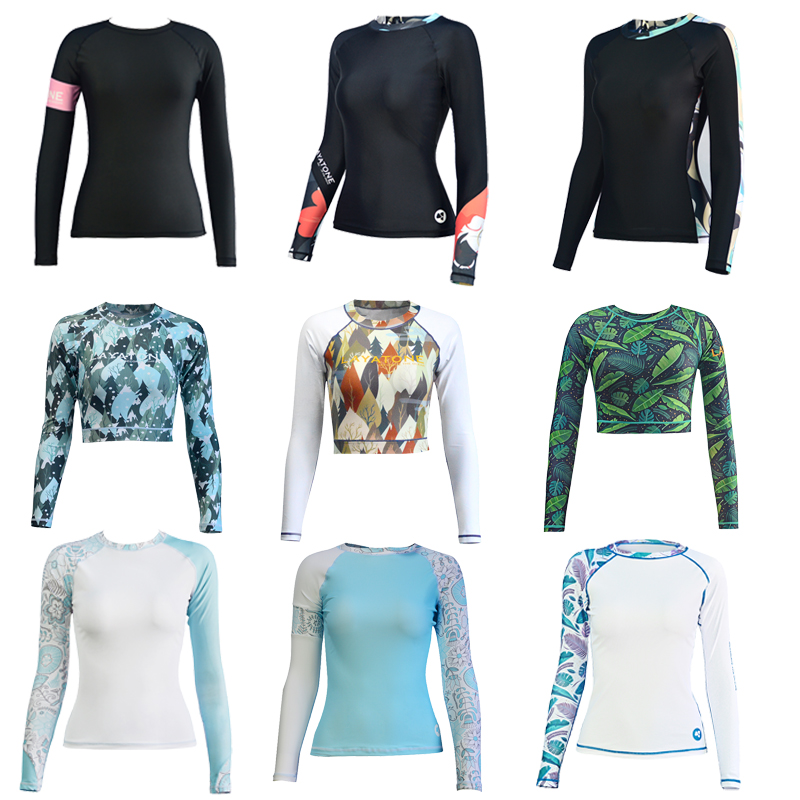 Layatone Long Sleeve Rash Guard Women Surf suit Swimwear UV 50+ Swimming Shirt Bathing Suit LKY-U 2017 long sleeves swimwear rashguard surf clothing diving suits shirt swim suit spearfishing kitesurf men rash guard
