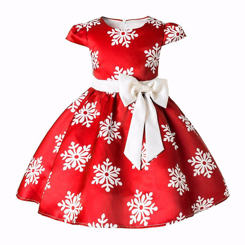 New Children Princess Girls Snow Printed and Stripe Christmas Dress Big Bow Baby Kids Cotton Lining Prom Dress Clothing Costume 2017 new baby girls christmas man dot dress costume cotton children dresses christmas red color children s clothing 2 6 yrs
