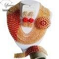 Великолепные Броши Красный Золотой Кристалл Бисера Нигерийские Бусы Ожерелья Африканские Свадебные Бусы Комплект Ювелирных Изделий CPS4915