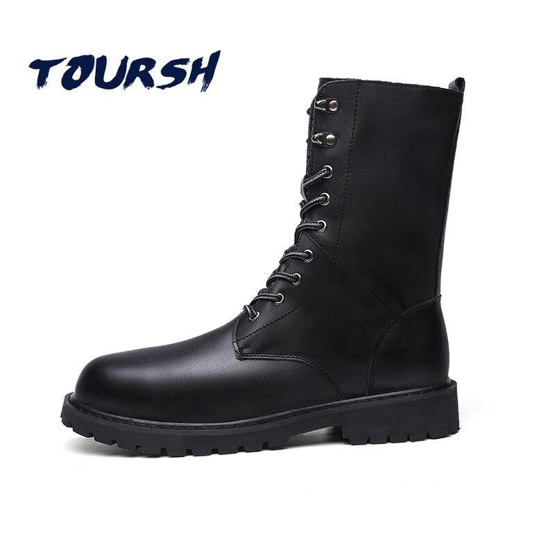 TOURSH New Winter Martin Military Boots Men Shoes Leather Men Boots Brand Fur Boots For Men Autumn Winter Shoes Zapatos Hombre mulinsen new 2017 autumn winter men