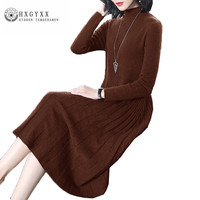 Long Spring Autumn Women Dress 2018 Fashion Simple Pure Color High Collar Female Knitting Dresses New