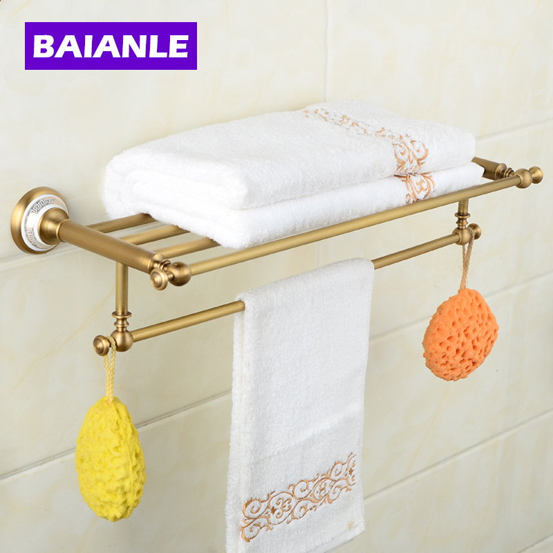 Ceramics Copper Chrome Finish Towel Holder, Towel Rack Bathroom Accessories Towel Bars fully copper bathroom towel ring holder silver