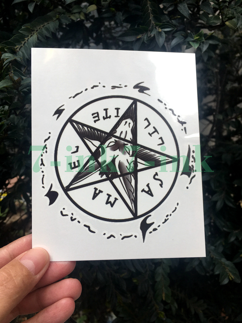 Waterproof Temporary Tatoo Sticker Dark Prajna Personality Pentagram Totem Water Transfer Fake Tatoo Flash Tatto For Men Women