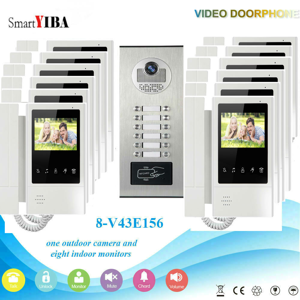 SmartYIBA Multi Apartment Building Video Door Phone Doorbell Intercom System for 12 Household RFID Control Video Intercom hd apartment building intercom system access control system of intelligent video intercom doorbell project customized wholesale