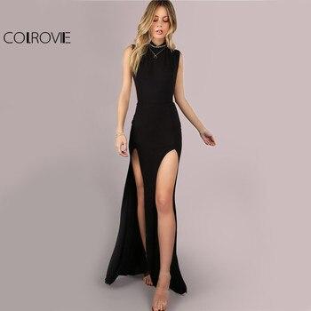 Black Mesh Back Maxi Party Dress Sexy Double Slit Club Women Bodycon Summer Dresse