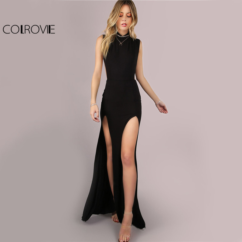 COLROVIE Black Mesh Back Maxi Party Dress Sexy Double Slit Club ženske Bodycon Poletne obleke Dekle z visokim izrezom Slim Long Dress