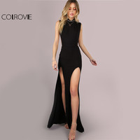 COLROVIE Noir Mesh Maxi Parti Robe 2017 Sexy Double Fente Club Femmes Moulante Robes D'été Fille Col Haut Mince Robe Longue