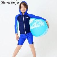Boys Swimwear Kids Bikini Swimsuit For Children Child 2018 Korean Boy Long Sleeve Shorts Hooded Biquini