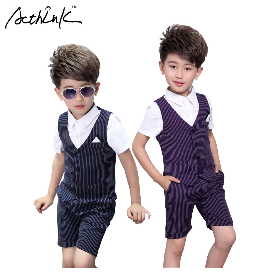 ActhInK New Boys Striped Vest Suit for Wedding Children Summer Formal Vest+Shorts Clothing Set for Baby Boys, Kids Costume, C306 acthink new boys summer formal 3pcs shirt shorts waistcoat suit children england style wedding suit with bowtie for boys zc033