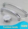 Modern 96 MM Conjunto De Cristal de Diamante Puxadores Para Móveis Hardware Knob Gaveta Wardrobe Armários de Cozinha Armário Puxe Porta Acessórios