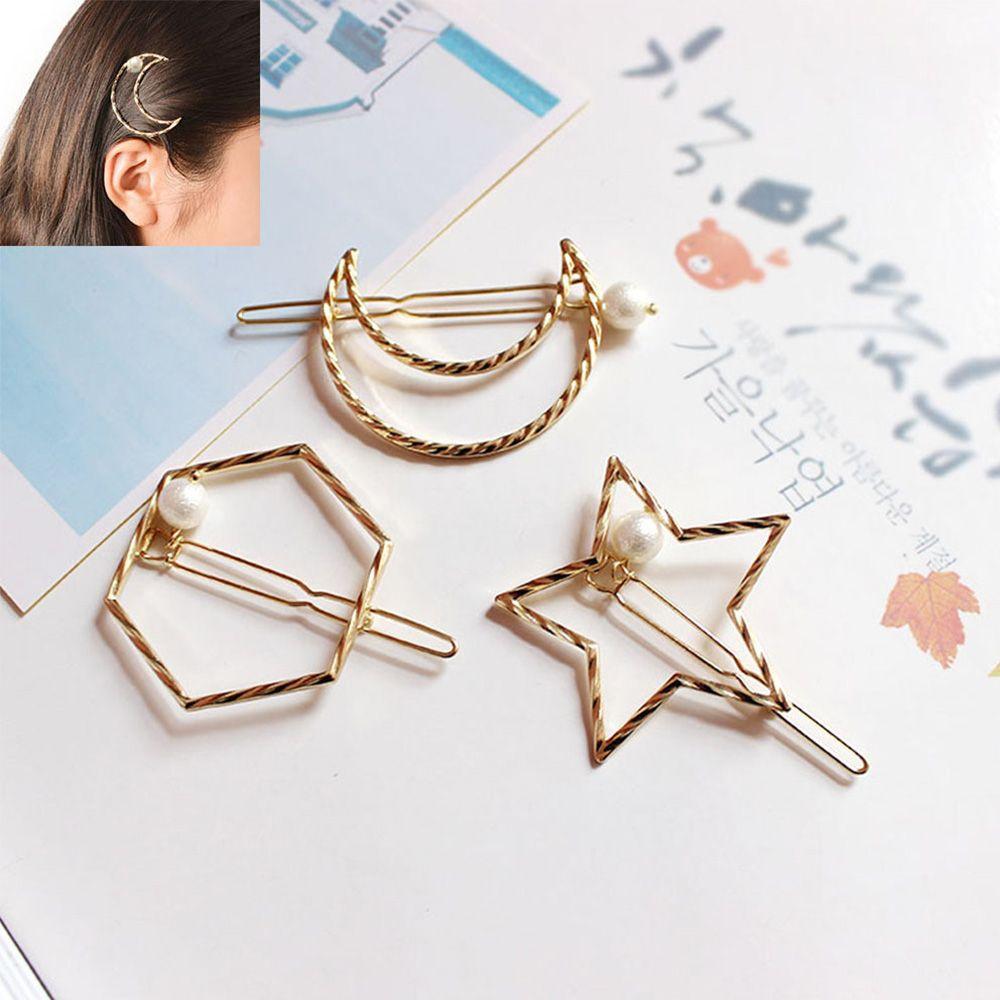 Модная Геометрическая жемчужная заколка для волос из сплава, простая пятиконечная звезда, луна, шестигранная, аксессуары для волос