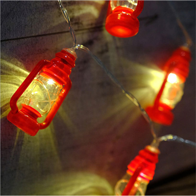 Battery Operated 10 Led Warm White Red Lantern String Fairy Lights For Christmas Wedding Home Decoration