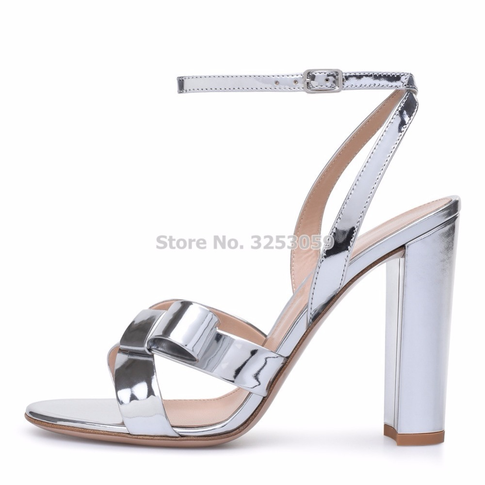 ALMUDENA New Designer Silver Patent Leather Chunky Heels Bowtie Sandals Metallic Cross Strappy Butterfly-knot Dress Pumps metallic strappy flat sandals