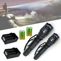 2pcs CREE XM L T6 LED Adjustable Focus Flashlight 4pcs 5000mah 18650 Battery 2pcs Dual Rechargeable